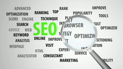 Magnifier passing over seo and related keywords