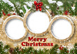 Christmas background with frame and fir twig