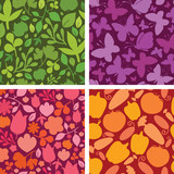 Vector set of four plants and butterflies seamless patterns