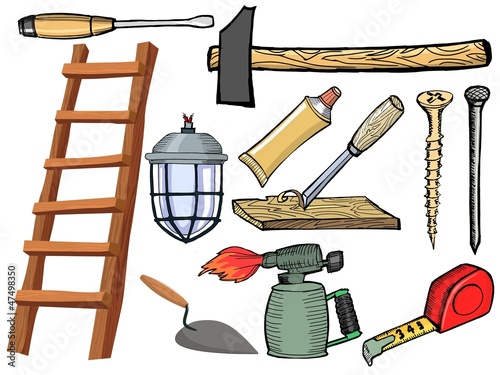 Set of hand drawn illustration of the tools