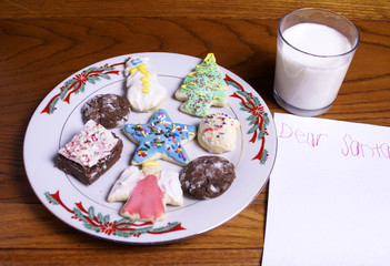 Christmas Cookies Milk and blank note for Santa Claus