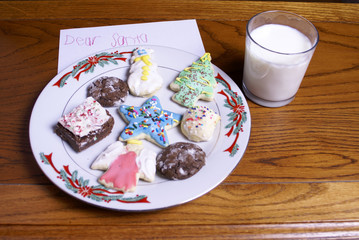 Christmas Cookies Milk and Note for Santa