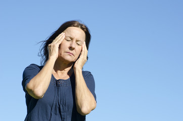 Stressed mature woman menopause
