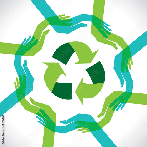 hand show the recycling stock vector