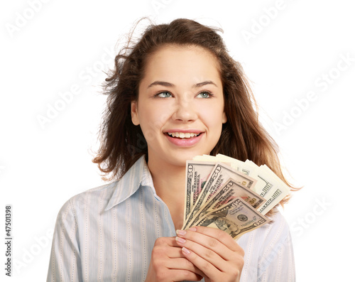 Beautiful success businesswoman holding dollar