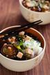 Miso soup with shiitake, tofu, seaweed, noodles shirataki