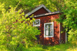 Red wooden summerhouse