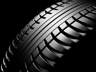 tire on a black background