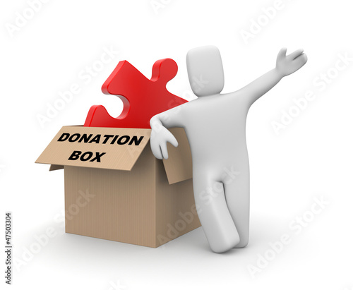 Person with donation box