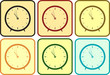 set isolated colorful clock in frame