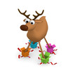 Funny reindeer standing in gift boxes