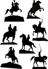 set of horsemen monuments isolated on white