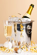 Champagne ice bucket and glass