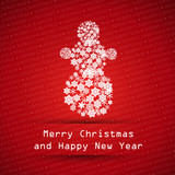red merry christmas typographic text poster