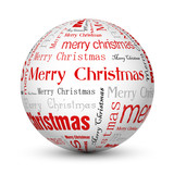 red merry christmas typographic balls poster