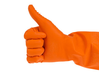 thumb up hand outstretched in orange glove