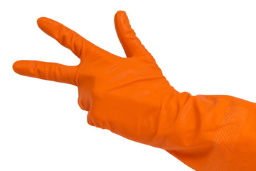 hand in orange glove count to three
