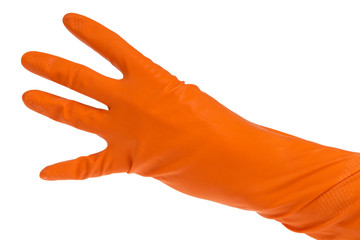 hand in orange glove count to four