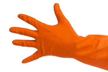 hand in orange glove count to five