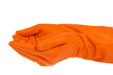 giving hands in orange gloves
