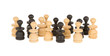 Old handcarved chess pieces isolated