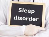 Doctor shows information: sleep disorder poster