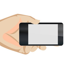 Black blank Smart Phone Vector in hand holding horizontal