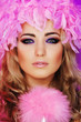 beautiful woman in pink feathers