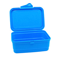 Plastic container for products isolated on a white background.