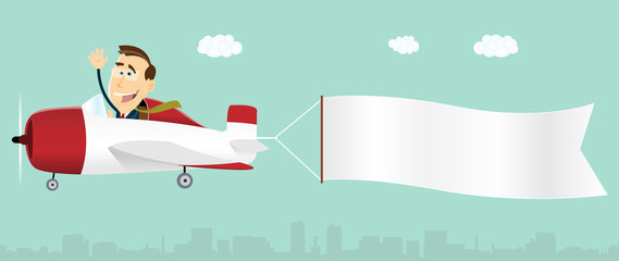 Summer Banner Advertising Airplane
