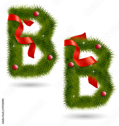 Christmas-related decorative alphabet B