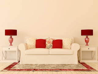White sofa with red decor