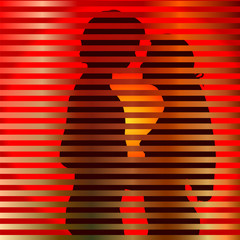 Love silhouette on background with slats