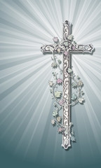 cross with ornaments on a greyish background and shine