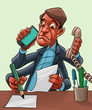 Comic cartoon of a man multitasking