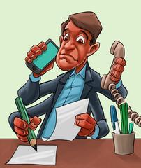 Comic cartoon of a man multitasking