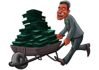 young Business man carrying a cart with a lot of money in cash
