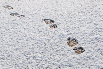 Fresh boot prints in the snow