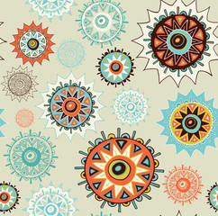 vintage detailed ornament background with colorful circles
