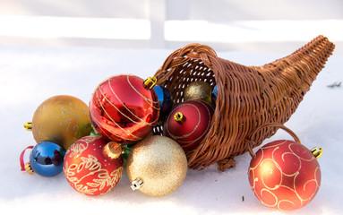 Cornucopia with christmas decoration