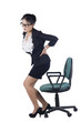 Business woman with backache after long work on chair. Isolated