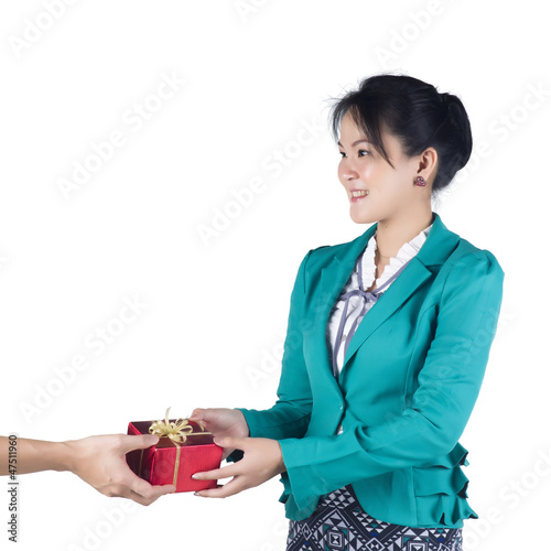 Business woman have a present isolated over white background