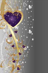 st valentin coeur violet