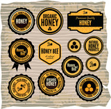 Set of honey and bee labels