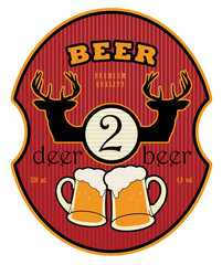 Label with beer mugs and the text 2 Deer Beer written inside