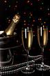 Celebratory champagne with stemware