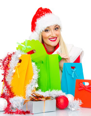 Happy christmas or santa claus woman with gifts, Isolated