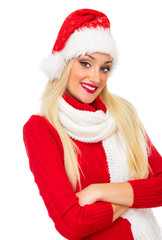 Portrait of smiling santa claus or christmas woman