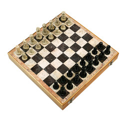 Old Decorative Chessboard with Figurines in Perspective