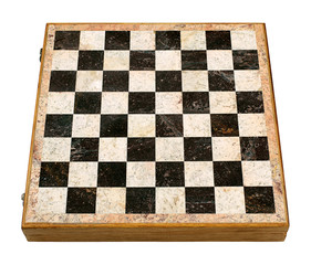 Old Decorative Chess Board in Perspective